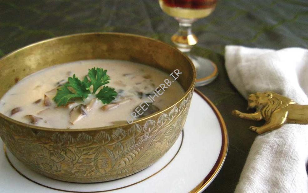 سوپ جو دوسر با قارچ